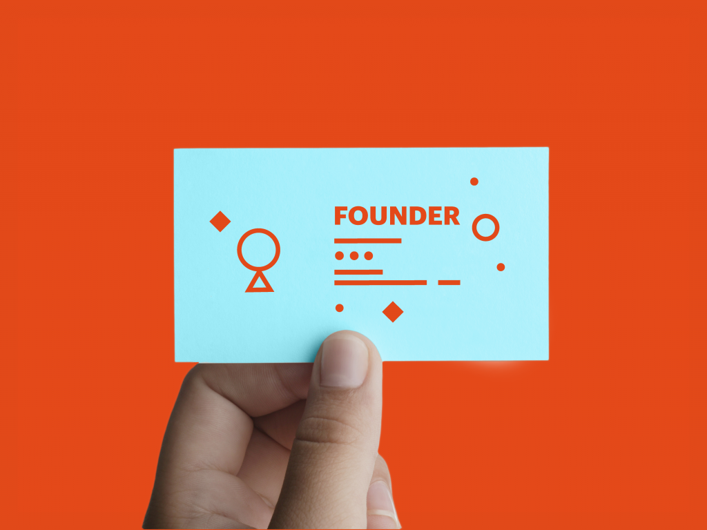 "Business Card with ""founder"" on it"